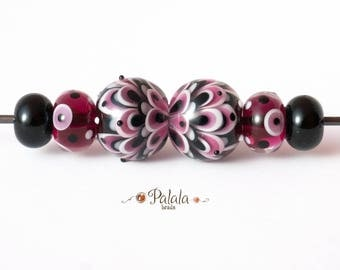 Pair of Black and Pink Lampwork Glass Beads for earrings