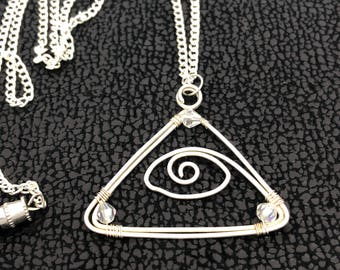 """Pyramid """"Eye of Horus"""" sterling  silver wire charm pendant/ necklace, beaded  with reflective crystal beads."""