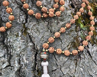 Rudraksha Seed Mala, Nepalese Bronze Guru Bead, 108 Beads, Silk Tassel, Mala Beads, Nature, Yoga Jewelry, Sacred Seed