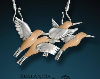 Four Hummingbirds Pendant - Hand Carved Tagua Nut