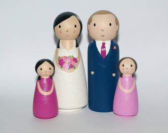 Wedding Cake Topper Family - Custom Family Cake Topper Figurine - Personalized Family Portrait - Weddding Cake Topper with Child
