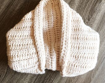 Women's Oversized Chunky Blanket Crochet Shrug - Crochet Sweater - Cocoon - Wool Shawl (White/Cream/Ecru)