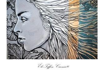"""Portrait femme sur bois, art sur bois, bois peint, techniques mixtes sur bois, bois recyclé peint, """"Les Traces du Passé """""""