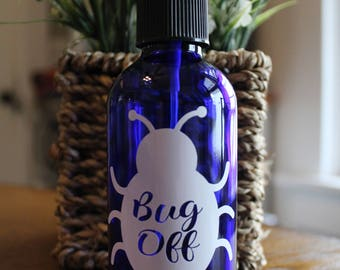 Set of 4 - Essential Oil 4 oz Spray Bottle Labels - Bug Off -LABELS ONLY