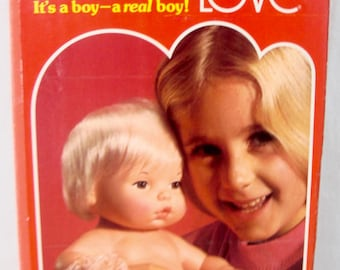 Vintage 1975 Mattel Baby BROTHER TENDER LOVE Anatomically Correct Doll - w Box