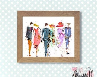 Watercolor painting wedding , DIGITAL art  to customize your wedding invitations save the date, favors, watercolor wedding poster home decor