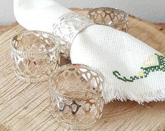 Silver Napkin Rings Set of 4