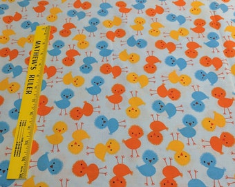 Urban Zoologie-Chicks on Blue Cotton Fabric Designed by Ann Kelle for Robert Kaufman Fabrics