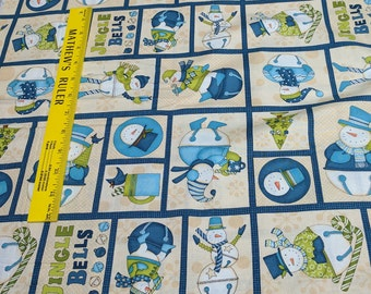 Jingle Bell Snowmen-Boxes Cotton Fabric from Wilmington Prints