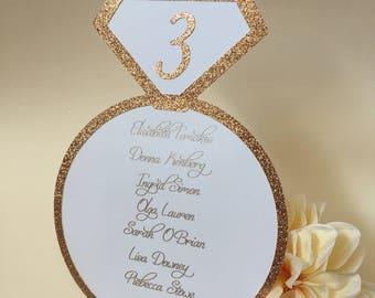 Bridal Seating chart cards, Wedding Seating Chart Cards, Engagement Seating Chart, Wedding Ring Seating Chart, Wedding Ring Place Cards