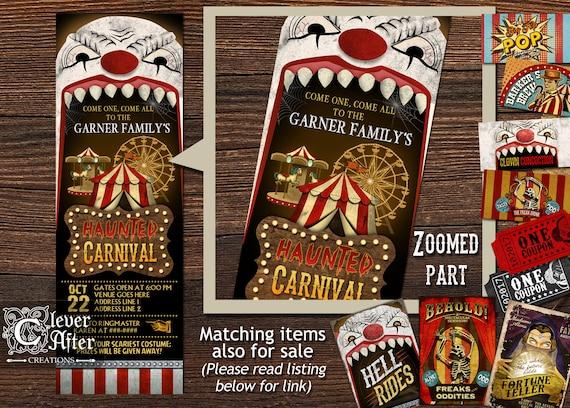 Halloween Carnival Invitation Haunted Amusement Park Invite – Scary or Horror Invitation Cards