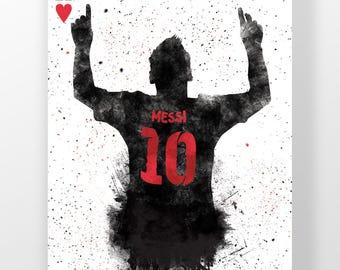Lionel Messi | King Of Hearts Silhouette |  fc Barcelona, La Liga, Illustrated football poster, Home Decor