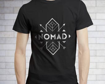 Hiking Shirt - Nomad Unisex T-Shirt - Happy Camper Tshirt -Nature Shirt - Outdoor Shirt - Camping Clothes - Summer Camp Shirt - Ta