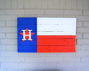 Large Houston Astros Wooden Texas Flag - baseball, MLB, recycled wood, reclaimed wood, home decor, man cave, mancave, garage, decoration