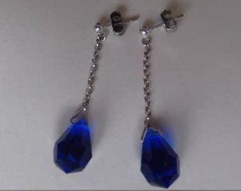 Blue Czech glass sterling silver earrings