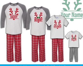 Reindeer Name Pajamas, Family Christmas Pajamas, Personalized Pajamas, Infant Toddler Youth Christmas Pajamas, Holiday Pajamas