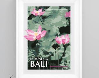 BALI, Indonesia, Lotus flowers, Vintage Travel Poster, A4/A3 Print, Custom Options.