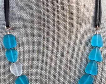 """Gorgeous Blue Polished 15mm Flat Sea Glass Beaded Necklace on 1/8"""" Dark Leather Cord- SERENE"""
