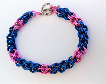 Pink & Blue Chainmaille Bracelet