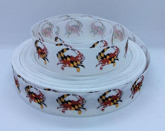 "7/8"" Nautical Crab - Print Grosgrain Ribbon"