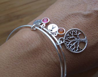 Family Tree Bangle, Mother Grand Mother Bangle Bracelet, Valentine Gift, Tree Bangle Bracelet, Initial Bracelet, Personalized,Initial Charm