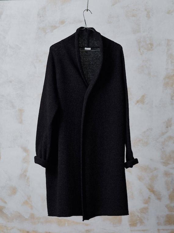 Long WOOL CARDIGAN Black knitted wool jacket Long wool coat
