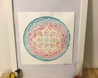 Mandala: hand-made papercut and watercolor