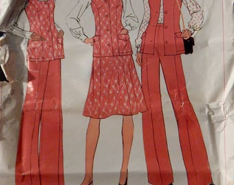 Vintage Women's Vest, Skirt and Pants Pattern (Simplicity 7305) Size 18 1/2 UNCUT