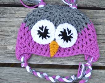 Crochet Owl Hat/ 3-6 months/baby/grey/white/purple(orchid)/ with tassels