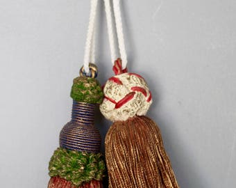 Resin Tassels - Two Vintage Drapery Tassels - Ceiling Fan Pull - Decorative Tassel - Christmas Ornament - Tassel Ornament - Assemblage Art