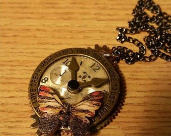 Butterfly Clock Necklace