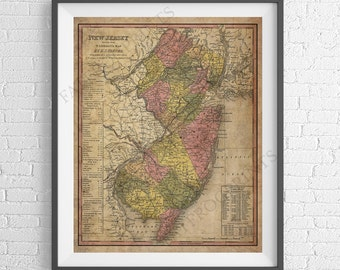 New Jersey Map Etsy - New jersey map