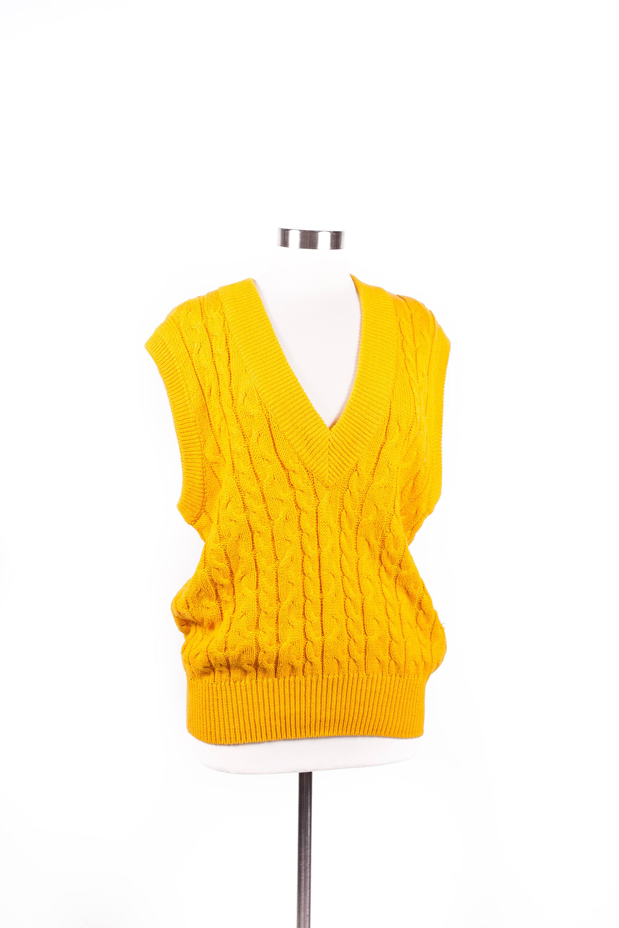 Unisex / Men's Large FORENZA Sweater Vest Marigold Yellow V-Neck ...