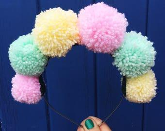 Pom Pom Headband, Kitsch Headband, Pom Pom Accessory, Festival Headband, Pastel Crown, Rainbow Band, Pom Poms, Cute Hair Accessory