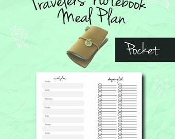 TN Pocket Insert, Meal Plan, Grocery List, Fauxdori, Midori Insert, Pocket Insert, Notebook Refill, FoxyDori, ChicSparrow, PDF