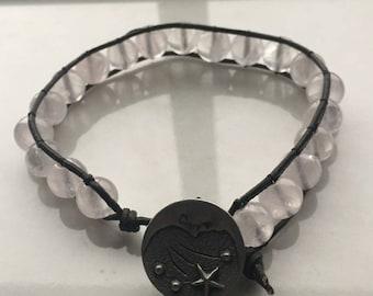 Rose Quartz Leather Bracelet -8in