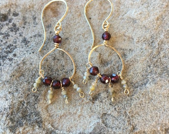 Garnet and sapphire hoop earrings