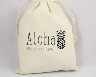 Wedding Welcome Bag Bag, Welcome Party Bag, Canvas Party Bag, Thank You Party Favor Bag, Goodie Bag, Hawaii Party Favor