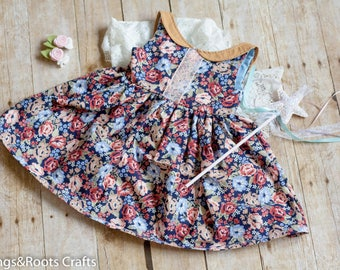 2T Girls Scoop Back Special Occasion Dress, Fancy Dress, Peter Pan Collared Dress, Low Back Dress, Special Occasion Dress, Floral Dress