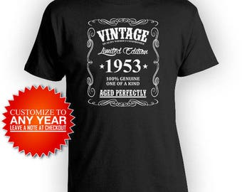 Custom Birthday Shirt 65th Birthday T Shirt Bday Gifts Personalized T Shirt Custom Year Vintage 1953 Aged Perfectly Mens Tee - BG371