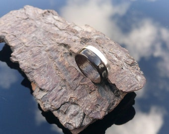 Smoked Eucalyptus and Silver bentwood ring