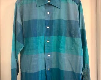 1960's CLASSIC Vintage Men's Shirt ! SEARS Perma Prest // BLUE //Medium //Button Down