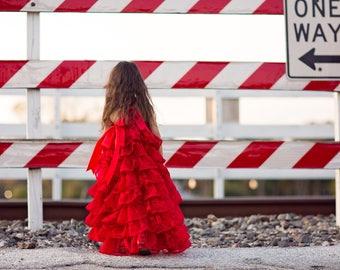 Red Rose Shabby Chic Flower Girl Ruffle Dress, Junior Bridesmaid Dress, Girl Toddler Maxi Dress, Valentines Day Dress