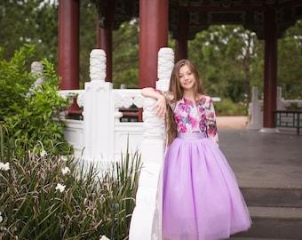 Lavender Purple Flower Girl Tutu Skirt, Girl Toddler Tulle Skirts, Country Rustic Flower Girl, Junior Bridesmaid Tulle Skirt, Ballerina Tutu
