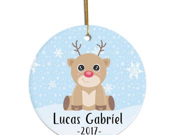Baby Ornament, Custom Ornament, Reindeer Ornament, Ornament for Kids, Christmas Ornament for Kid