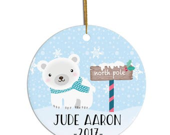 Kids Christmas Ornament, Personalized Child Ornament, Baby Ornament, Polar Bear Ornament, Christmas Ornament, Personalized Kid Gift