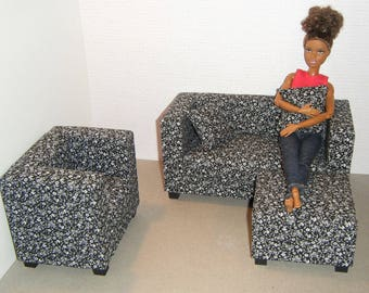 1/6 Scale Furniture Sofa Chair Ottoman - Barbie Momoko, Blythe, Pullip, Fashion Dolls - 1:6 Playscale Living Room Diorama - Black Flowers