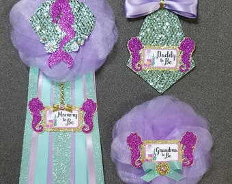 Mermaid Baby Shower Corsage/ Mermaid Baby Shower Pin/ Mommy To Be/ Daddy To Be/ Grandma To Be/ Grandpa To Be/ Mermaid Theme