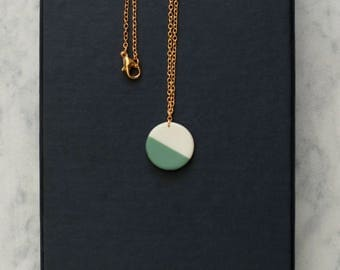 round porcelain geometric necklace