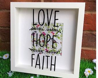 Love Hope Faith Shadow Box Frame